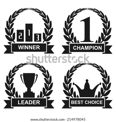 winner emblems incorporating the number 1, crowns, podium, champion cup in laurel wreaths with a banner on white background.  vector illustrations  - stock vector