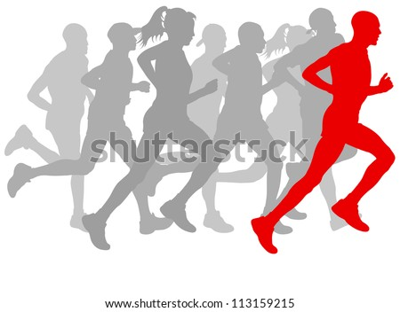Winner finish vector background and group of runners - stock vector
