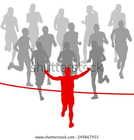 Winner finish vector background and group of runners concept - stock vector