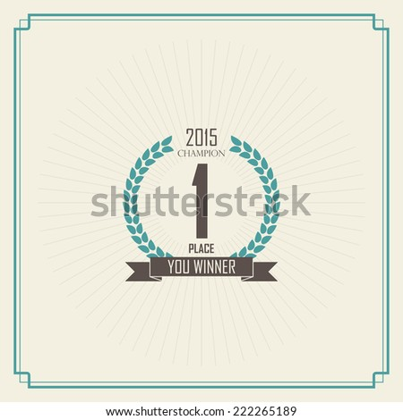 winner first place. champion vintage label. - stock vector