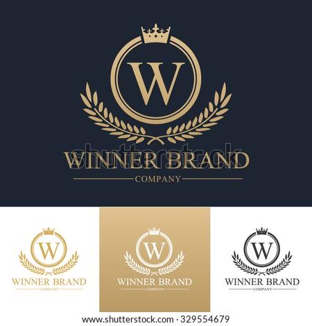 Winner Logo,Boutique brand,real estate,property,royalty,crown logo,crest logo,Vector Logo Template. - stock vector