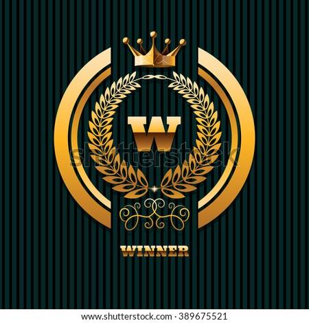 Winner Logo real estate property gold crown logo template eps 10 vector illustration - stock vector