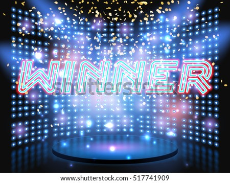 Winner neon lettering live stage on background with lightbulb glowing wall. Vector abstract background