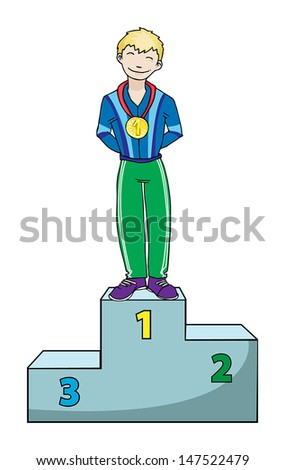 winner on a podium, vector illustration - stock vector