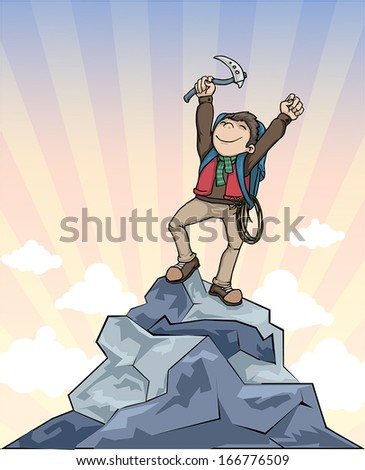 Winner, on top of the mountain, in mountain climbing gear, vector illustration - stock vector