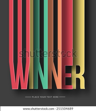 Winner paper cut text on abstract background with drop shadows. Vector illustration  - stock vector