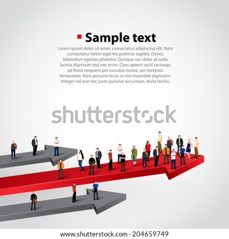 Winner people crowd on arrow. Profit red arrow with people, Vector illustration