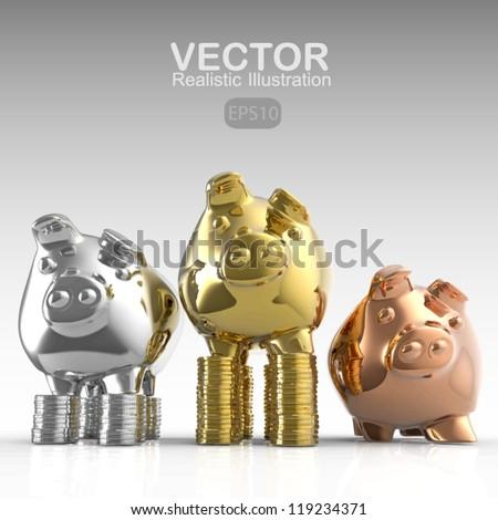 winner piggy bank as concept - stock vector