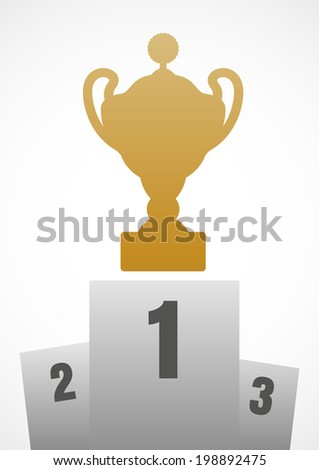 Winner podium with gold trophy cup for first place - stock vector