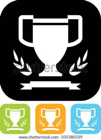 Winner's cup, laurel wreath and ribbon - Vector icon isolated - stock vector