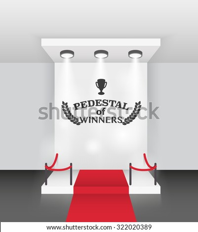 winner's podium with red carpet vector background - stock vector
