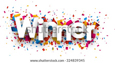 Winner sign with colour confetti. Vector paper illustration. - stock vector
