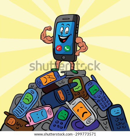 Winner smart phone and old mobile phones - stock vector