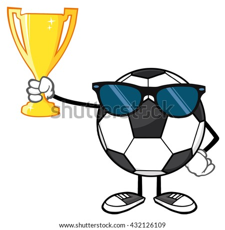 Winner Soccer Ball Faceless Cartoon Character With Sunglasses Holding A Golden Trophy Cup. Vector Illustration Isolated On White Background - stock vector