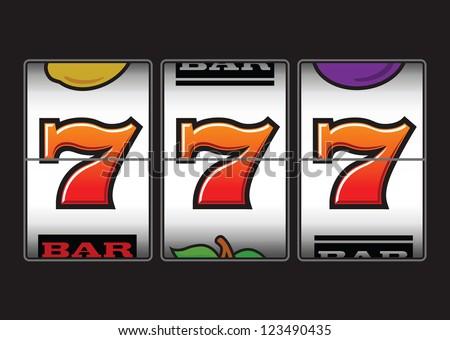 Winner triple sevens at slot machine - stock vector