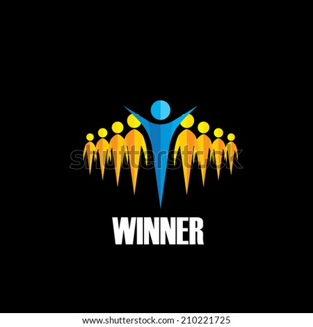 winner winning competition - vector concept. This graphic illustration also represents successful person of group of employees, group of people with leader, triumphant executive, rat race, leadership - stock vector