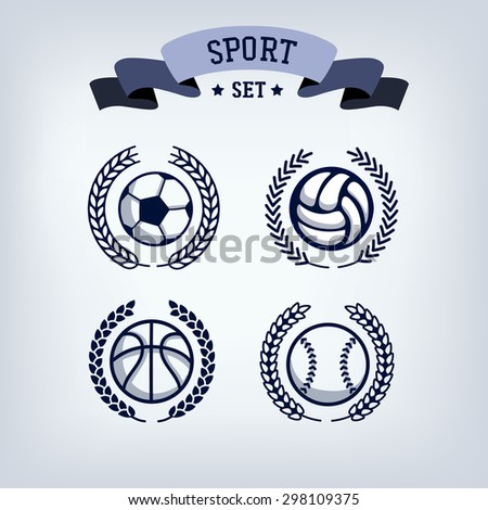 Winner wreath and award ribbon emblem or banner.  sport template element  Winner  set , ribbon banner. Victory, champion icon in flat football, volleyball, basketball, baseball