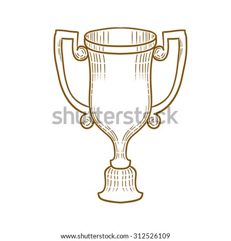 Winners cup isolated on white. Hand drawn vector illustration.