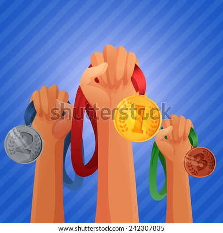 Winners hands holding winner victory golden silver and bronze  medals background vector illustration - stock vector