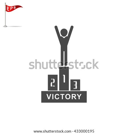 winners podium icon, vector awards sign, isolated victory symbol