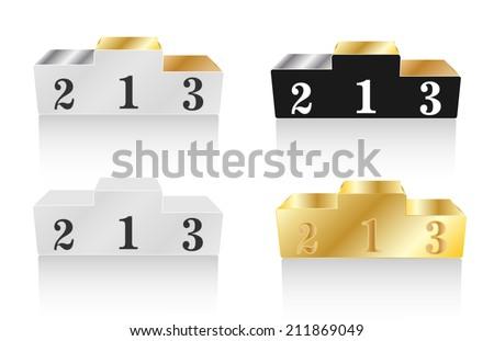 Winners podiums set, vector illustration - stock vector