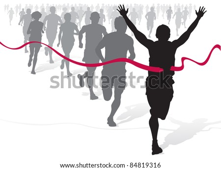 Winning Athlete ahead of a group of marathon runners. - stock vector