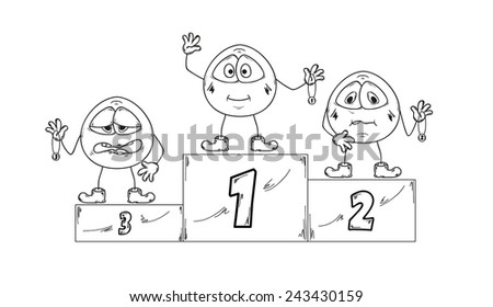 winning podium with first, second and third places and emoticons - stock vector