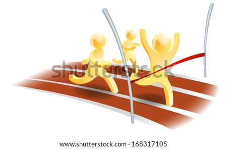 Winning race concept, three people racing on a track with one about to cross the finish line - stock vector