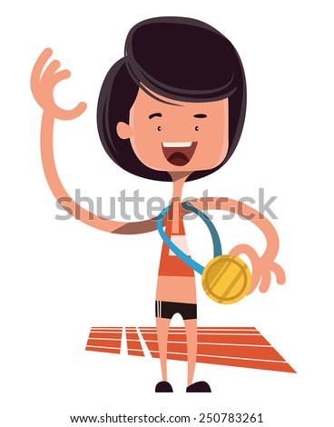 Winning the olimpic gold vector illustration cartoon character