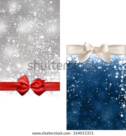 Winter abstract banners. Christmas background with snowflakes and sparkles. Vector.  - stock vector