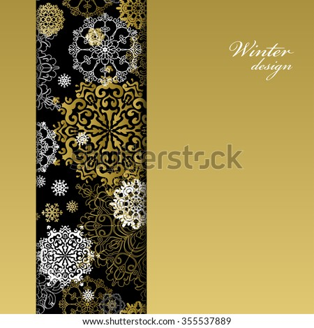 Winter abstract design with gold and white snowflakes and stars and black background. Trend golden design. Vertical border stripe and text place. Golden vintage vector illustration. - stock vector