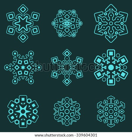 Winter abstract snowflakes vector set. Christmas design. New year celebrating elements. - stock vector