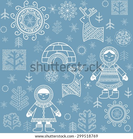 Winter abstract wallpaper with Eskimo, trees and igloo - stock vector