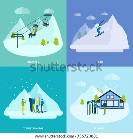 Winter active rest in mountains design concept set with  people downhills and ski  rental vector illustration