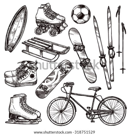 Winter and summer sport equipment set with hand drawn soccer ball bicycle and roller skates isolated vector illustration - stock vector