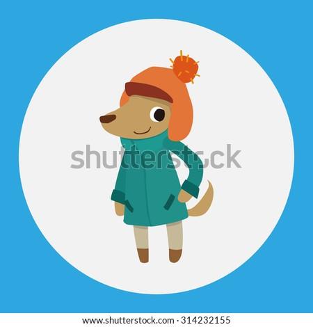winter animal dog flat icon elements background,eps10 - stock vector