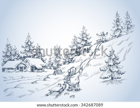 Winter background, children at play in the snow, pine forest sketch - stock vector