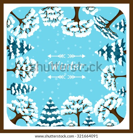 Winter background design with abstract stylized trees. - stock vector