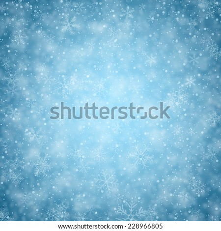 Winter background. Fallen defocused snowflakes. Christmas. Vector.   - stock vector