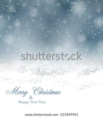 Winter background. Fallen defocused snowflakes. Christmas. Vector.  - stock vector