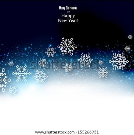 Winter background. Fallen snowflakes. Christmas. Vector.    - stock vector
