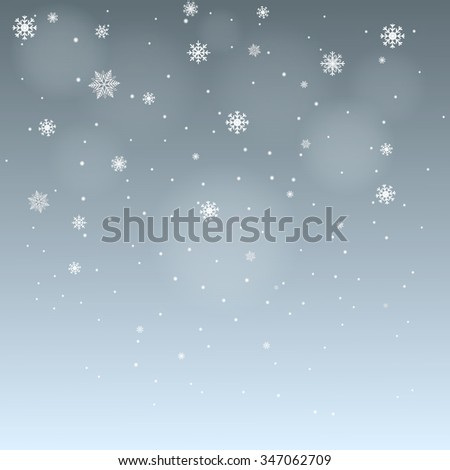 winter background falling snowflakes on blue gray background