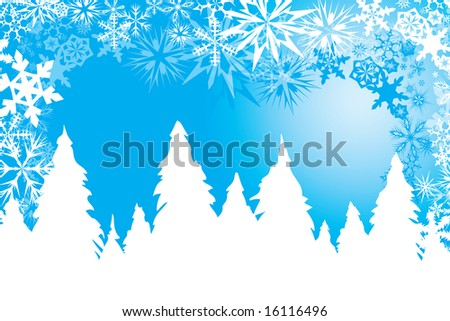 Winter background in blue and white with snow flakes, pine trees and wind - stock vector