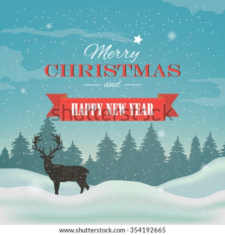 Winter background, landscape. New year and Christmas greeting card. Vector illustration - stock vector