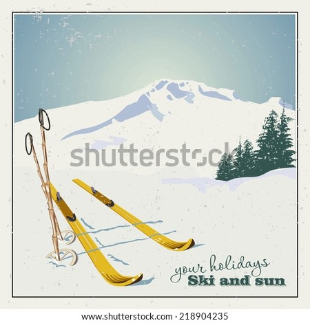 Winter  background. Mountains and ski equipment in the snow - stock vector