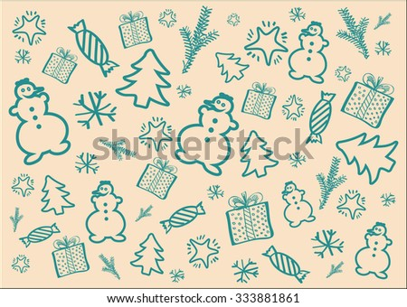Winter background on the theme of Christmas in pastel tone. Hand drown design elements vector set. - stock vector
