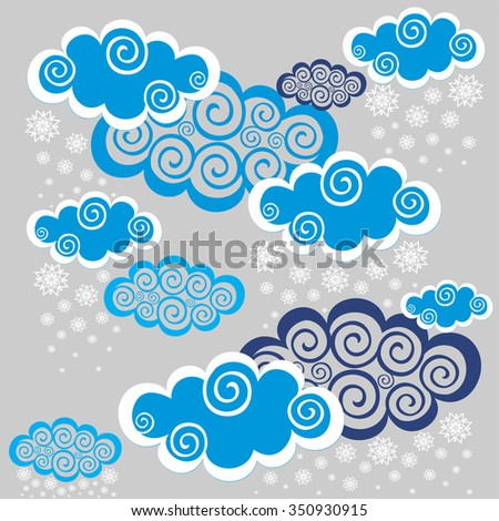 Winter background. Seamless night sky background. Vector Illustration - stock vector
