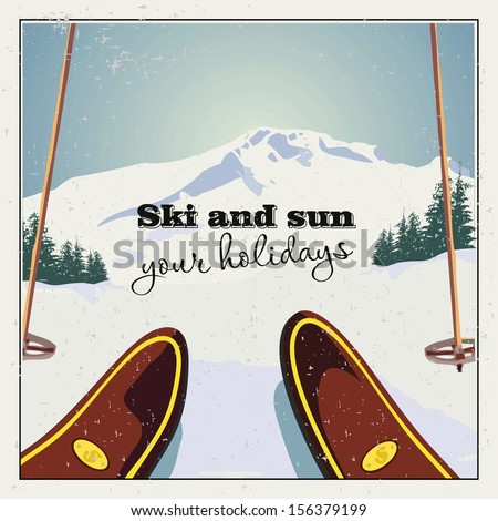 Winter background. The skier is preparing to descend against the beautiful mountain landscape. Retro poster. - stock vector