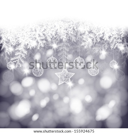 Winter background, white fir branches decorated with baubles and star on bokeh background, Christmas card - stock vector