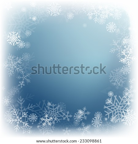 Winter background with beautiful various snowflakes. Vector illustration - stock vector